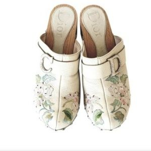 Christian Dior Embroidered Floral Wooden Mules